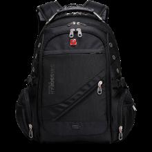 Городской водозащитный рюкзак Swissgear 8810 Black с AUX и USB  Airflow + дождевик