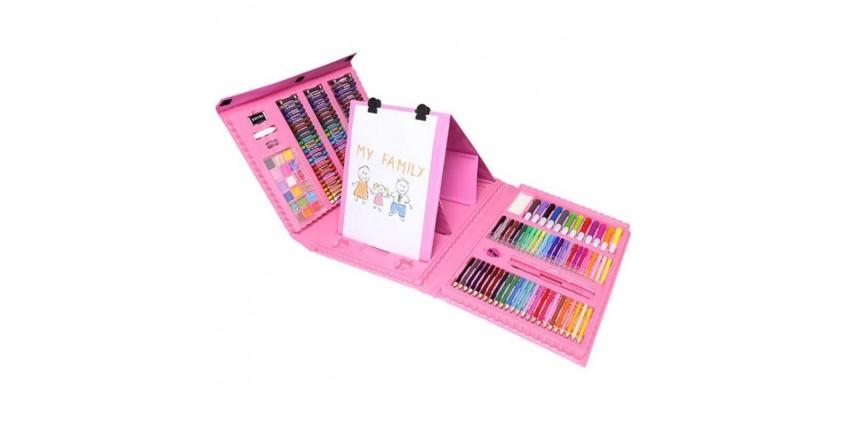 Набор для рисования с мольбертом Just Amazing в чемоданчике (176 предметов) розовый